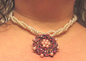 VINTAGE 3 STRANDS OF LITE BLUE, PINK, AND WHITE PEARLS BRILLIANT