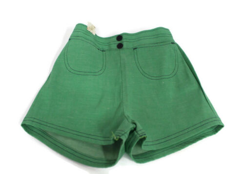 Vtg 1970s NOS Size 10 Girls Shorts Green Blue Stitching Cotton Blend USA Retro