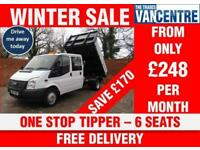 FORD TRANSIT 350 DOUBLE CAB ONE WAY TIPPER LWB 125 BHP ONE STOP 6 SEATS