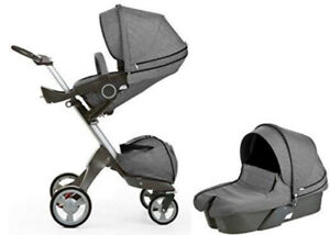 Stokke Xplory stroller and Pram carry cot with accessories