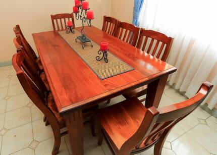 Dining Suite - Solid Wood with 8 Chairs - Very Good Condition