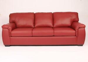 RED LEATHER SOFA AND LOVESEAT OR DARK RED COUCH (BD-1259)