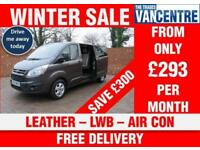 FORD TRANSIT CUSTOM 290 L2 H1 DOUBLECAB LIMITED LWB 125 BHP LEATHER AIR CON