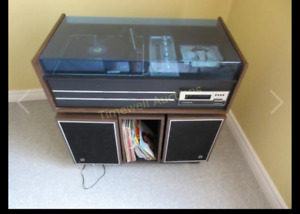 BSR turntable console with symphonic/Hi-fi receiver/speakers