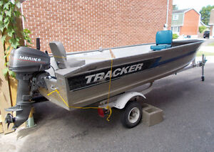 14FT Tracker Boat - 15 HP Mercury Outboard - Easy Hauler Trailer