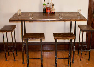 Hand Crafted Pipe Bar Table with Matching Bar Stools