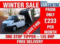 FORD TRANSIT 350 DOUBLECAB ONE WAY TIPPER LWB 125 BHP ONE STOP TIPPER 6 SEATS