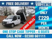 FORD TRANSIT 350 DOUBLECAB ONE WAY TIPPER LWB 125 BHP CAGE TIPPER 6 SEATS