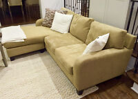 Cindy Crawford Home 3 Piece Suede Sofa Set with Leather Ottoman