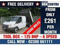 FORD TRANSIT 350 LWB DOUBLECAB ONE WAY TIPPER 125 BHP TOOL BOX 6 SPEED