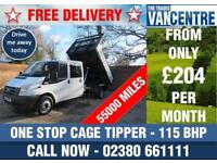 FORD TRANSIT 350 DOUBLE CAB ONE WAY CAGE TIPPER LWB 115 BHP 6 SEATS