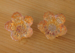 CARNIVAL GLASS MARIGOLD CANDLE HOLDERS - PAIR