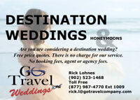 Destination Weddings - Brides can go free!*