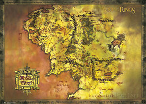 Middle earth map lord of the rings ebay lord of the rings middle earth map giant poster print 65x39 gumiabroncs Image collections