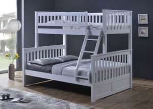 Hardwood Single / Double- Duncan - White - by Bunk Beds Canada