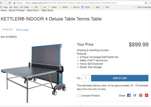Retail $1,000  New Kettler Indoor 4 Deluxe Table Tennis   Paddle