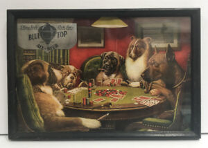 1940's BLUE TOP Beer SIGN Dogs PLAYING POKER Kitchener Brewery