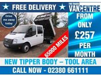 FORD TRANSIT 350 DOUBLECAB ONE WAY TIPPER LWB 125 BHP ONE STOP BODY TOOL AREA