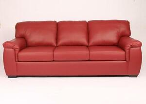 Canadian Made Red Leather Sofa (AC09)