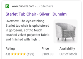 Dunelm Starlet crushed velvet silver tub chair