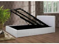 Leather Ottoman Storage Bed Frame in Black Brown and White Color