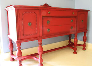 ANTIQUE BUFFET, SIDEBOARD, REFINISHED, HANDPAINTED CHRISTMAS RED