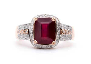 Solid Gold Ruby and Diamond Ring