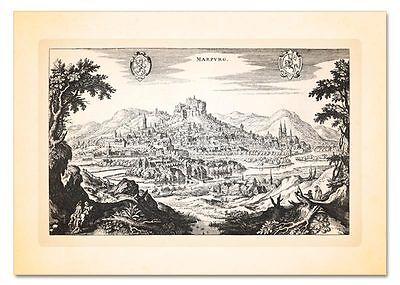 Marburg an der Lahn Oberstadt Universität HESSEN KUPFERSTICH MERIAN FAKSIMILE 9