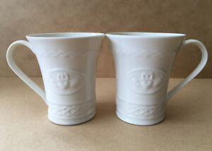 2 Belleek Fine Parian China Claddagh Coffee/Tea 10 oz. Mugs/Cups