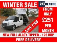 FORD TRANSIT 350 DOUBLE CAB ONE WAY TIPPER LWB 125 BHP NEW FULL ALLOY TIPPER