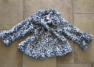 Girl's Faux Fur Zebra Print Black & White Formal Coat