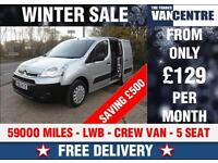 CITROEN BERLINGO LWB CREW VAN 5 SEAT SILVER WAS £7170 SAVE £500