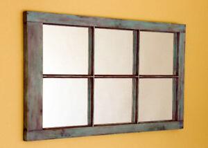 miroir porte antique patiné turquoise lilas crème restauré