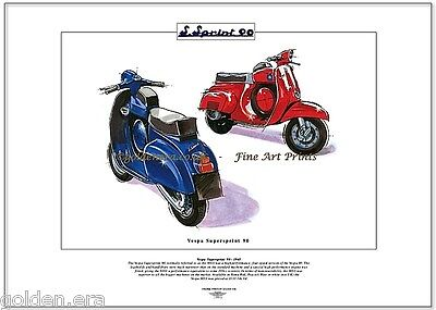 VESPA SUPERSPRINT 90 Scooter Fine Art Print - 90SS Roma Red & Peacock Blue image