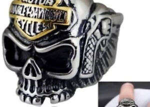 Stainless steel Harley Davidson skull ring 100% NEW