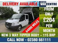 FORD TRANSIT 350 LWB DOUBLE CAB 3 WAY TIPPER 2.5 TDCI 115 BHP 6 SPEED 6 SEAT