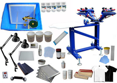 4 Color Screen Printing Kit Press With Stand 1 Station Silk Screen Material Kit