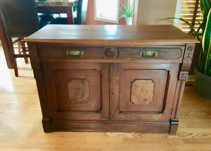 Vintage Antique Hardwood Buffet Hutch Furniture Piece