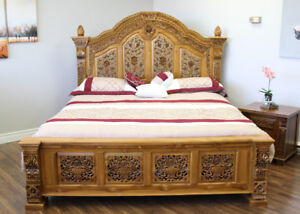 HandCrafted Solid Wood RAWANA BED - made with A Graded Teak Wood
