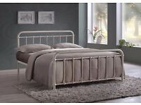 NEW Miami Ivory Metal Bed Frame Kingsize