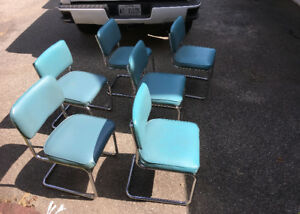 Set 6 Mid Century Modern Retro Knoll Cantilever Chairs