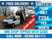 FORD TRANSIT 350 DOUBLE CAB 1 WAY TIPPER LWB 125 BHP ONE STOP WITH CAGE 6 SEATS