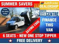FORD TRANSIT 350 DOUBLECAB ONE WAY TIPPER LWB 125 BHP 6 SEATS