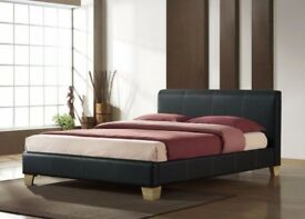 BRAND NEW DOUBLE LEATHER BED IN BLACK AND BROWN COLOURS WITH FULL FOAM MATTRESS RANGE