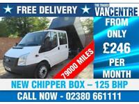 FORD TRANSIT 350 CREWCAB LWB ONE WAY TIPPER 125 BHP NEW CHIPPER BOX 6 SEATS