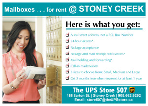 Mailboxes for Rent at Stoney Creek, ON