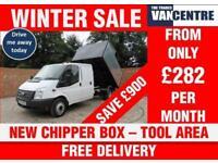 FORD TRANSIT 350 2.2 TDI DOUBLECAB 1 WAY TIPPER 125 BHP NEW CHIPPER BOX