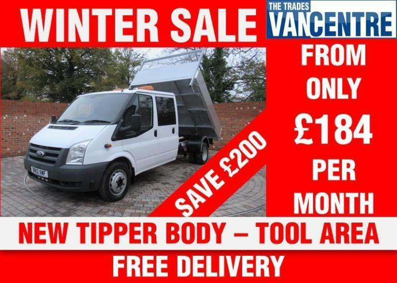 FORD TRANSIT 350 DOUBLE CAB ONE WAY TIPPER 125 BHP NEW TIPPER BODY TOOL AREA