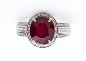 Large White Gold Diamond and Ruby Ring