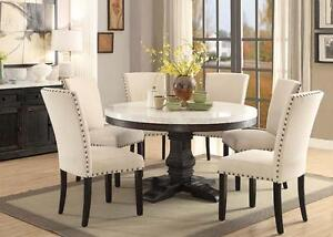 7PC LUCIA WHITE MARBLE TOP WEATHERED BLACK WOOD ROUND PEDESTAL DINING TABLE  SET Part 51
